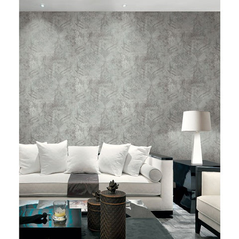 Brilliant Ogee Wallpaper in Grey and Teal by Seabrook Wallcoverings
