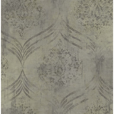 Sample Brilliant Ogee Wallpaper in Grey and Neutrals by Seabrook Wallcoverings