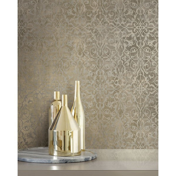 Brilliant Scroll Wallpaper in Grey by Seabrook Wallcoverings