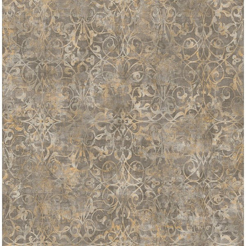 Sample Brilliant Scroll Wallpaper in Grey and Neutrals by Seabrook Wallcoverings