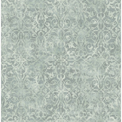 Brilliant Scroll Wallpaper in Grey and Teal by Seabrook Wallcoverings