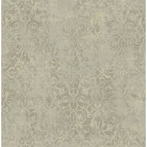 Sample Brilliant Scroll Wallpaper in Grey by Seabrook Wallcoverings