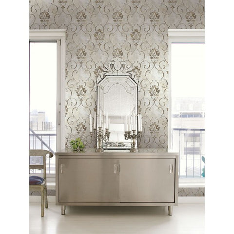 Brilliant Wallpaper in Silver and Blue by Seabrook Wallcoverings