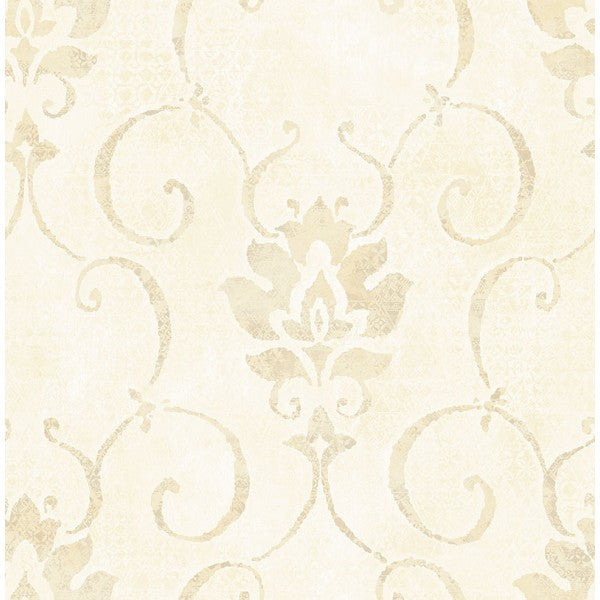 Brilliant Wallpaper in Ivory and Cream by Seabrook Wallcoverings