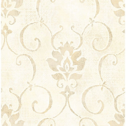 Brilliant Wallpaper in Ivory and Pearlescent by Seabrook Wallcoverings