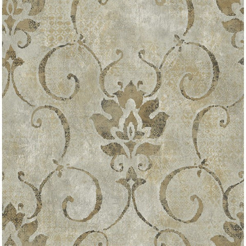 Sample Brilliant Wallpaper in Neutrals and Metallic by Seabrook Wallcoverings