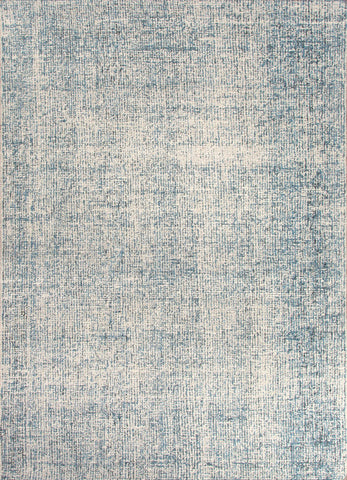 Britta Collection 100% Wool Area Rug in White Ice & Blue Print by Jaipur
