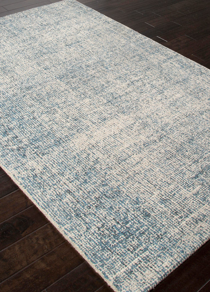 Britta collection 100 wool area rug in white ice blue for Blue and white carpet