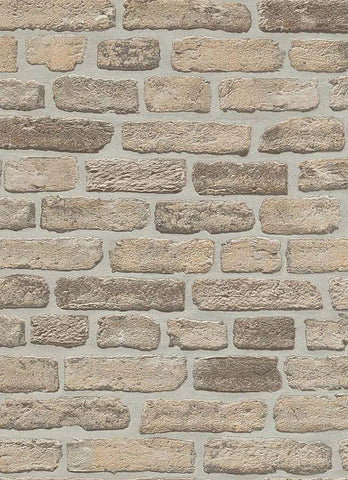 Brittany Faux Brick Wallpaper in Beige and Brown design by BD Wall