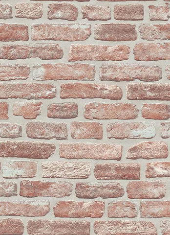 Brittany Faux Brick Wallpaper in Red and Brown design by BD Wall