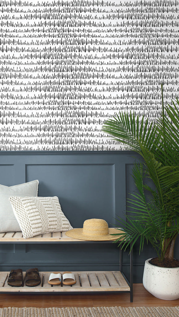 Brush Marks Peel-and-Stick Wallpaper in Black and White by NextWall