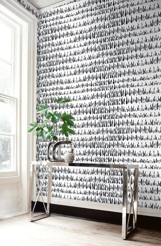 Brush Marks Wallpaper in Black and White from the Living With Art Collection by Seabrook Wallcoverings