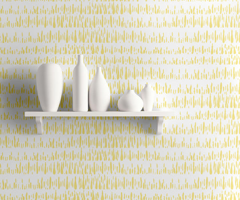 Brush Marks Wallpaper in Buttercup and White from the Living With Art Collection by Seabrook Wallcoverings