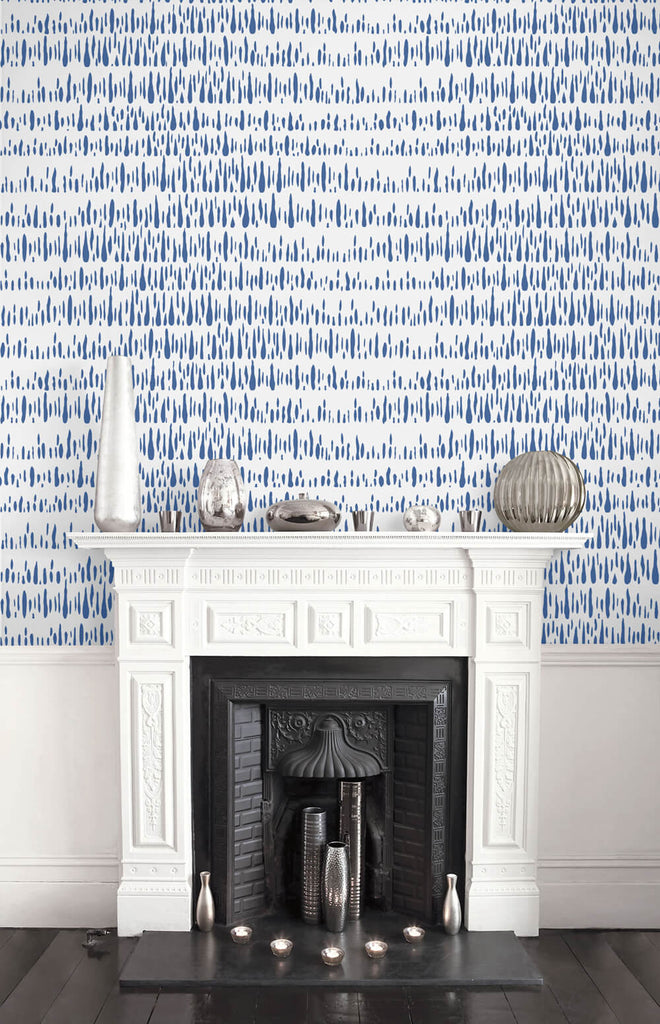 Brush Marks Wallpaper in Navy and White from the Living With Art Collection by Seabrook Wallcoverings