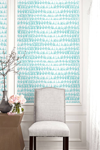 Brush Marks Wallpaper in Teal and White from the Living With Art Collection by Seabrook Wallcoverings
