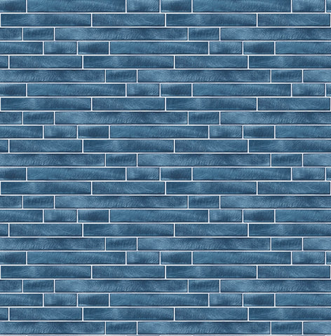 Brushed Metal Tile Peel-and-Stick Wallpaper in Denim Blue by NextWall