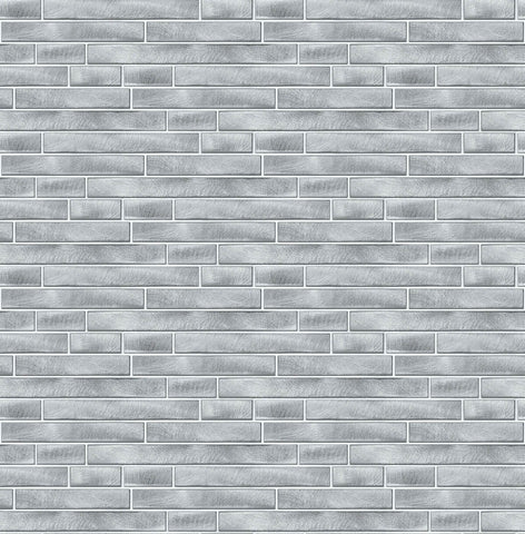 Brushed Metal Tile Peel-and-Stick Wallpaper in Silver by NextWall