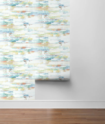 Brushed Stripe Peel-and-Stick Wallpaper in Multi by NextWall