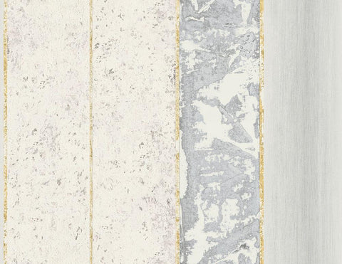 Brushwood Stripe Wallpaper in Gold, Grey, and Blue from the Transition Collection by Mayflower