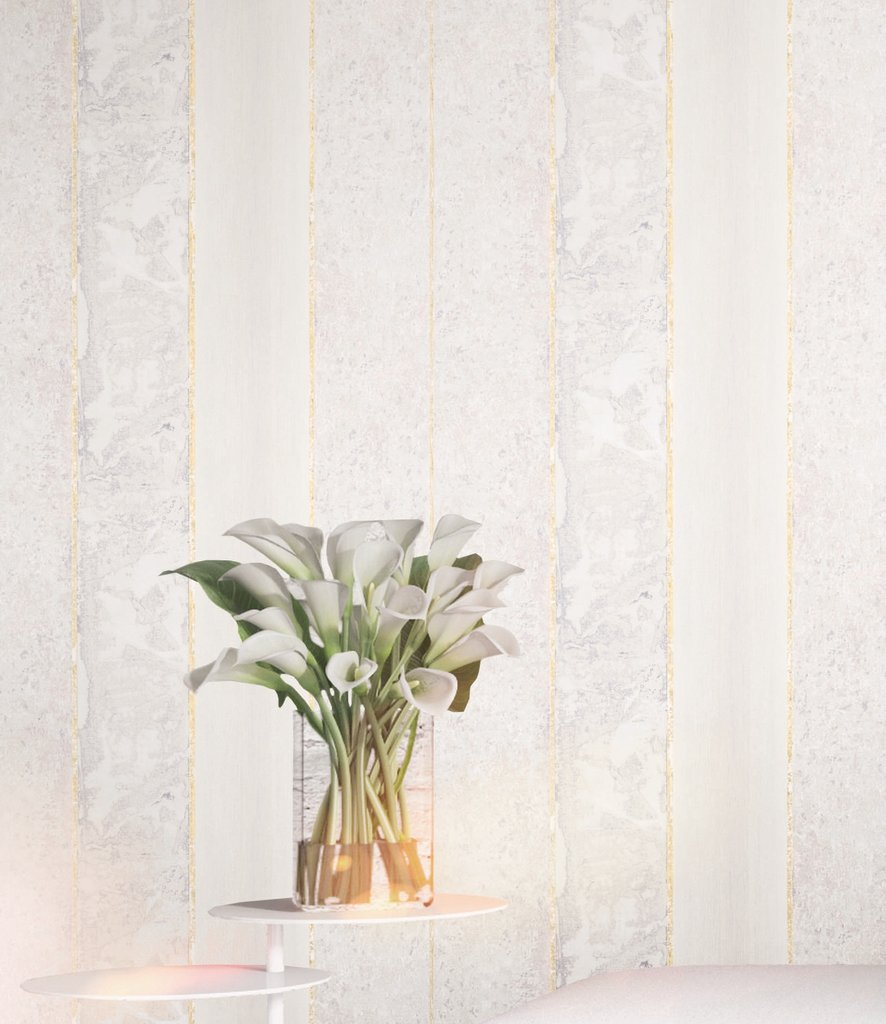 Brushwood Stripe Wallpaper in Gold, Grey, and Lilac from the Transition Collection by Mayflower