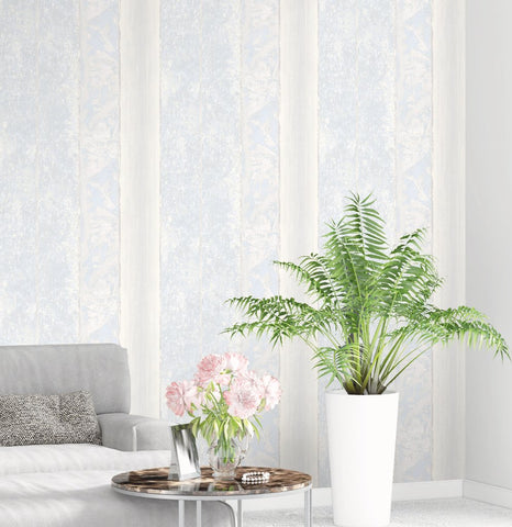 Brushwood Stripe Wallpaper in Silver, Lilac, and Grey from the Transition Collection by Mayflower