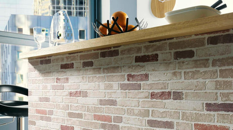 Bryce Faux Brick Wallpaper in Beige, Brown, and Creme design by BD Wall