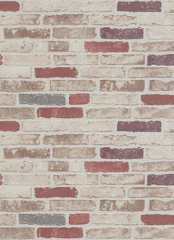 Bryce Faux Brick Wallpaper in Beige, Red, and Brown design by BD Wall