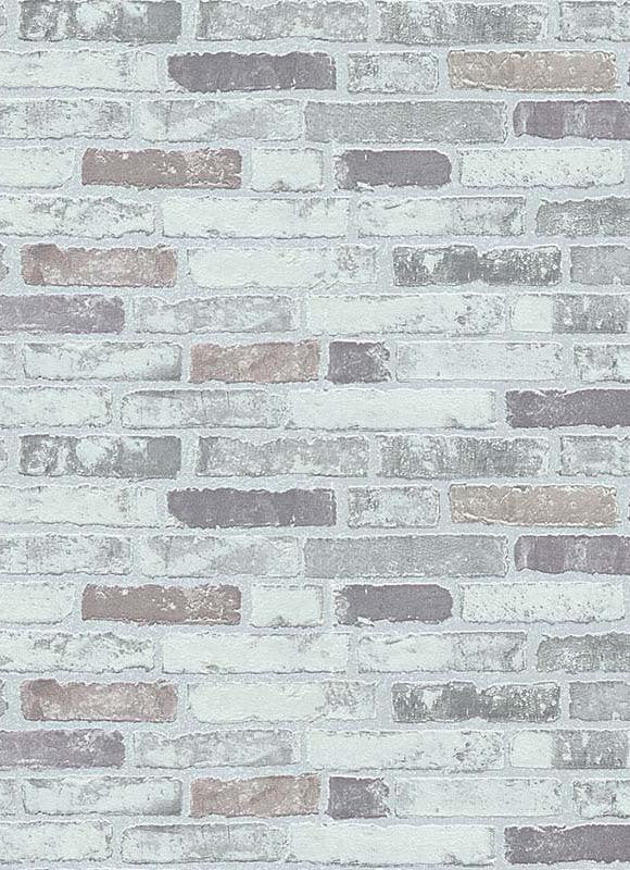 Bryce Faux Brick Wallpaper in Grey design by BD Wall