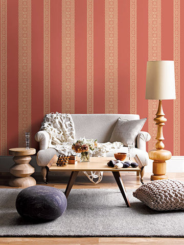 Brynn Coral Paisley Stripe Wallpaper from the Kismet Collection by Brewster Home Fashions