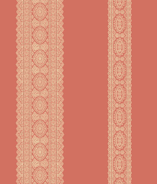 Sample Brynn Coral Paisley Stripe Wallpaper from the Kismet Collection by Brewster Home Fashions