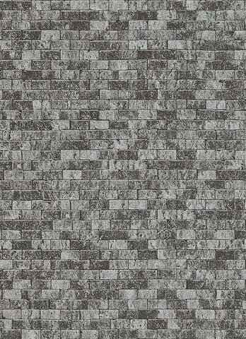 Brynn Faux Brick Wallpaper in Black and Silver design by BD Wall