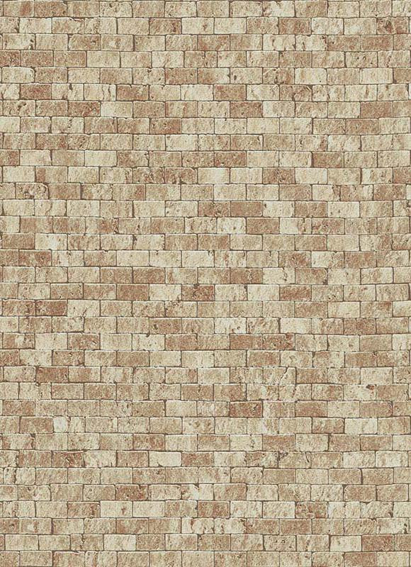 Sample Brynn Faux Brick Wallpaper in Brown design by BD Wall