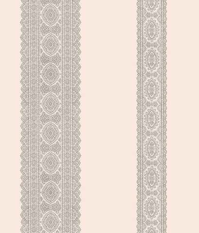 Brynn Grey Paisley Stripe Wallpaper from the Kismet Collection by Brewster Home Fashions