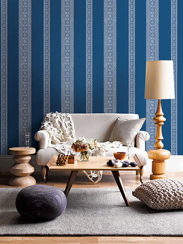 Brynn Indigo Paisley Stripe Wallpaper from the Kismet Collection by Brewster Home Fashions