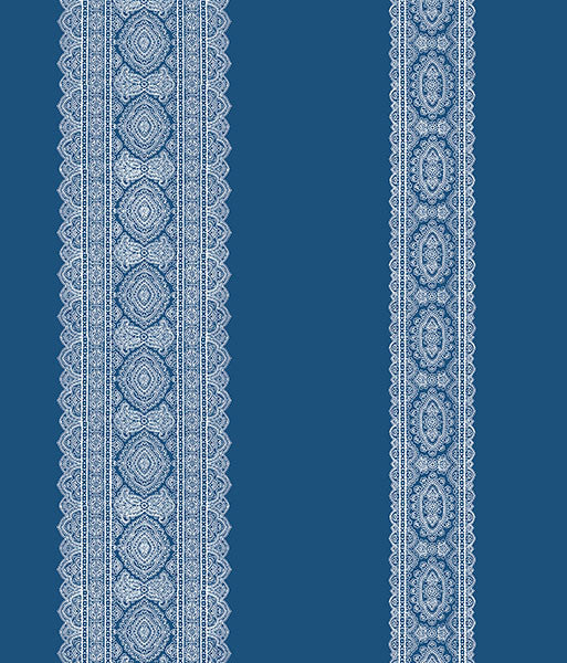 Sample Brynn Indigo Paisley Stripe Wallpaper from the Kismet Collection by Brewster Home Fashions