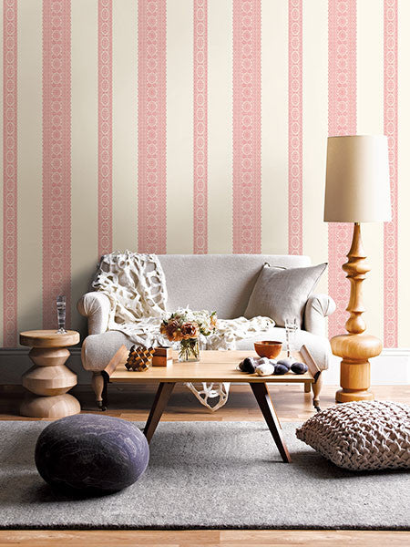 Brynn Pink Paisley Stripe Wallpaper from the Kismet Collection by Brewster Home Fashions