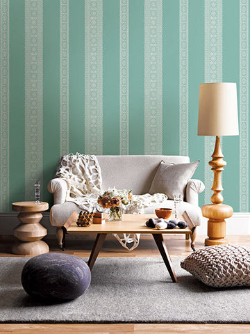 Brynn Turquoise Paisley Stripe Wallpaper from the Kismet Collection by Brewster Home Fashions