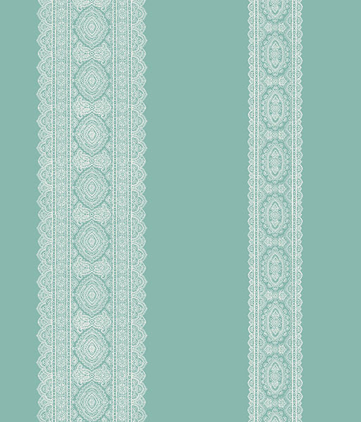 Sample Brynn Turquoise Paisley Stripe Wallpaper from the Kismet Collection by Brewster Home Fashions