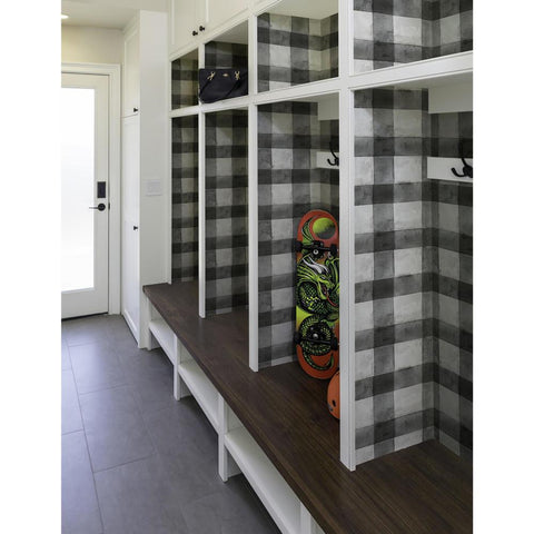 Buffalo Plaid Peel & Stick Wallpaper in Black by RoomMates for York Wallcoverings