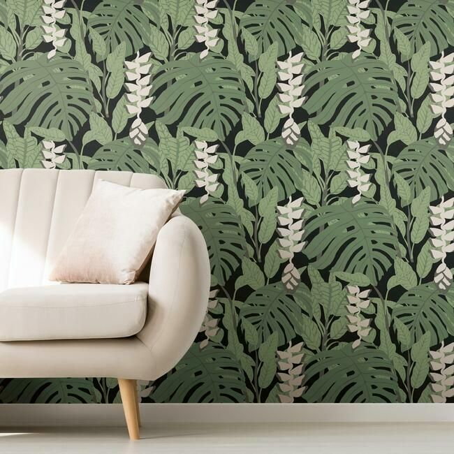 Bunaken Peel & Stick Wallpaper in Green and Black by RoomMates for York Wallcoverings