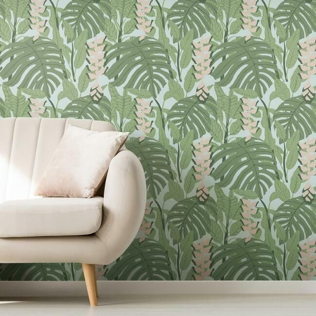 Bunaken Peel & Stick Wallpaper in Green and Blue by RoomMates for York Wallcoverings