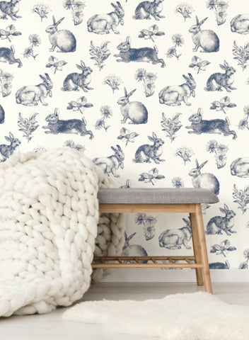 Bunny Toile Wallpaper from the A Perfect World Collection by York Wallcoverings