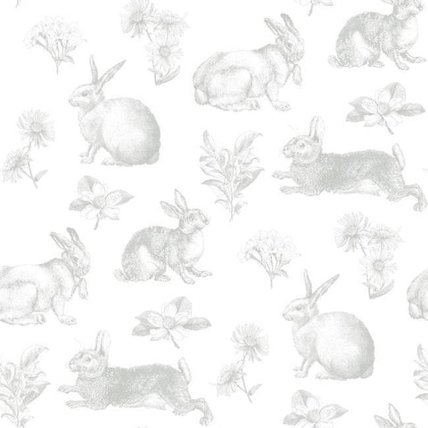 Bunny Toile Wallpaper in Grey from the A Perfect World Collection by York Wallcoverings