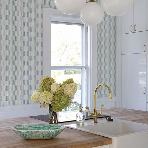 Burgen Geometric Linen Wallpaper in Teal from the Bluebell Collection by Brewster Home Fashions