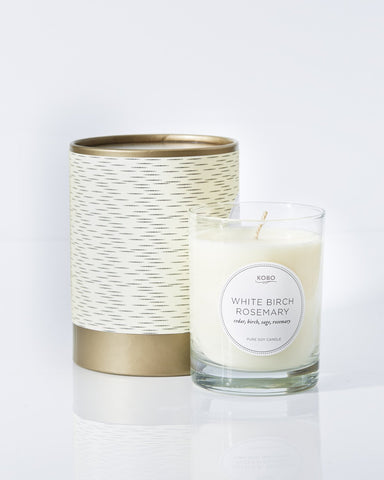 White Birch Rosemary Candle design by Kobo Candles