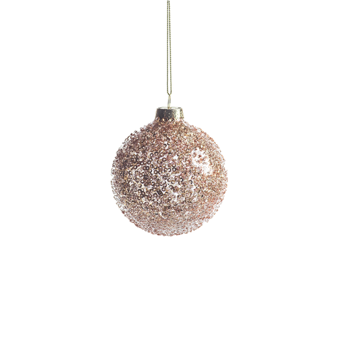 Burnt Gold Beaded Holiday Ball Ornament