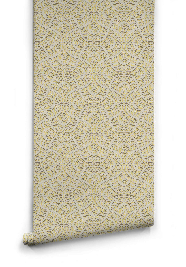 Sample Butan Wallpaper in Pollen from the Kingdom Home Collection by Milton & King