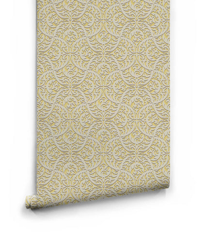 Butan Wallpaper in Pollen from the Kingdom Home Collection by Milton & King