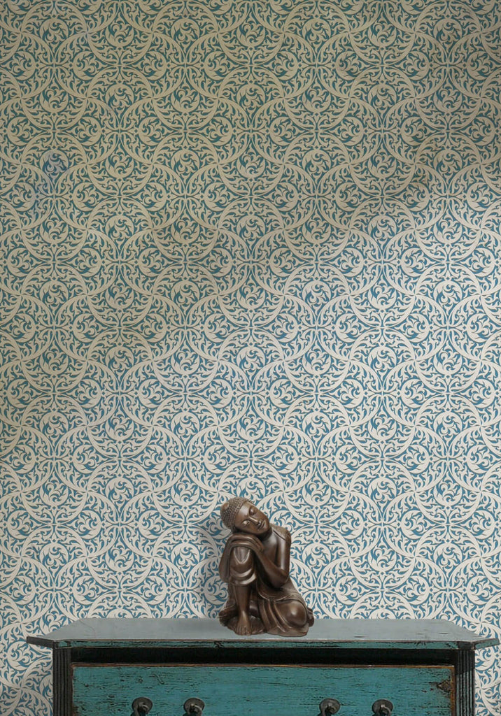 Butan Wallpaper in Sea Breeze from the Kingdom Home Collection by Milton & King