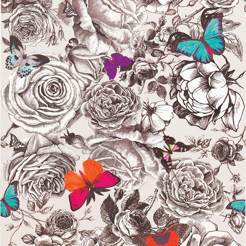 Butterfly Garden Wallpaper in Multi from the Enchanted Gardens Collection by Osborne & Little